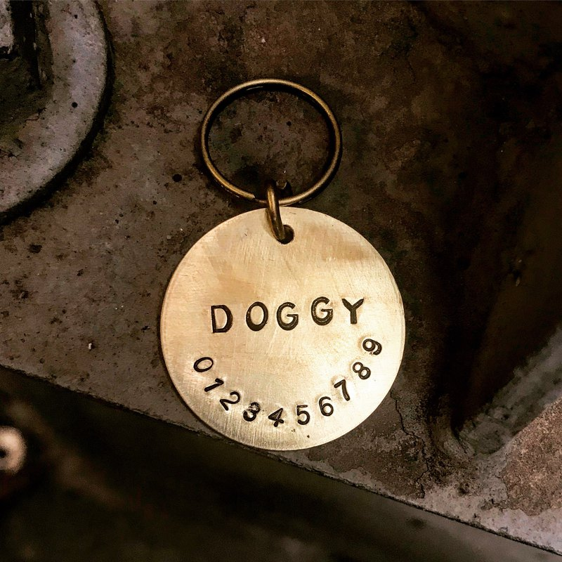Sienna brass charm. Pet dog card. Key ring necklace (content custom)