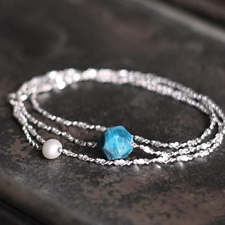 Blue Chen. Natural stone sterling silver clavicle chain sea apatite natural pearl 925 sterling silver necklace