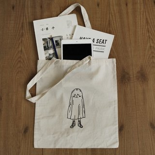 little ghost boy tote bag/handmade/screen printing