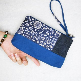 Blue Sky with Flowers - handbag cosmetic zipper  pencil bag