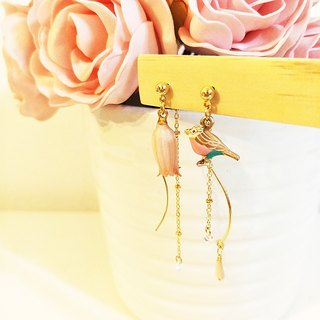 ::Fairy Garden Series :: Eternal Flower Bell Orchid Love Bird Asymmetric Earrings Romantic Earrings