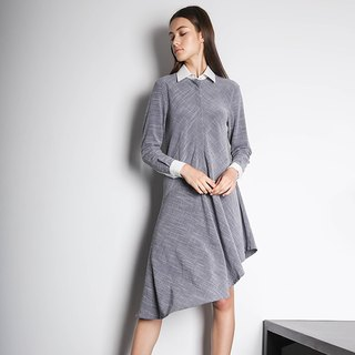 HENRIETTA ASYMMETRIC DRESS - MULTI (WHITE/GREY)