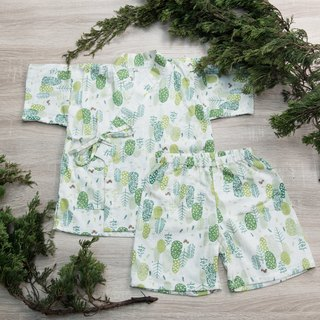 Japanese double yarn kimono (with trousers) - rice leaf hand made non-toxic yukata flat baby clothes