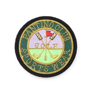 Japanese Design Indian Silk Handmade Copper Wire Badge - Golf Round Emblem (Gold)