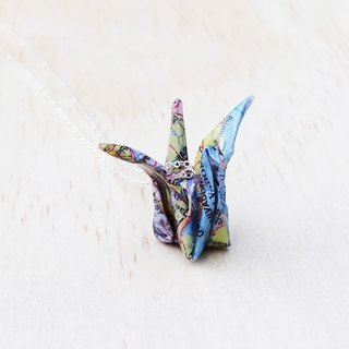 Map Origami Crane Necklace