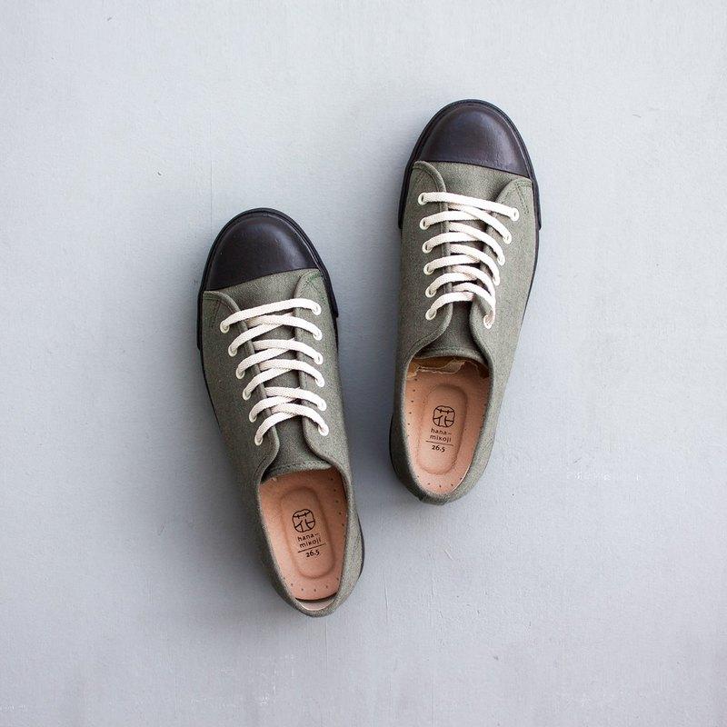 男友老公禮物 | 男鞋首選.男子日.石苔綠.水洗棉麻布.休閒.真皮鞋