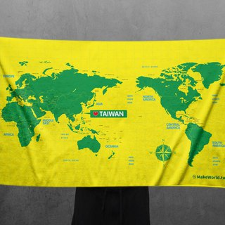 Make World Map Manufacture of Sports Bath Towels (Yellow Green)
