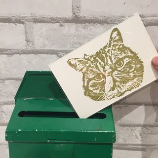 Cat Handprinted Postcard