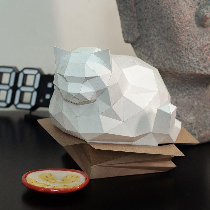 DIY手作3D紙模型擺飾 肥貓系列 - 紙箱胖貓 (3色可選)