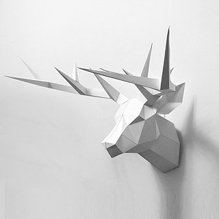 3D Paper Model _ Minimalist Deer Headdress _DIY Kits_ Handmade combination