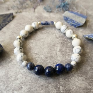 Cloud and Sea 【Spiritual · Handicraft】 Lapis Lazuli. Blue Stone/Soda Stone. White Turquoise. 925 sterling silver. Unisex Neutral Single-Loop Bracelet Gift