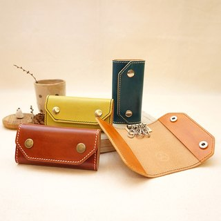 Hand dyed leather double buckle key case - four hook