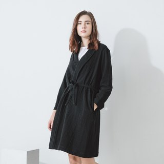 Open trench coat jacket - black