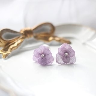One Refinement F.MISS Jiang Purple Japan - Eternal Flowers \ Dried Flower Zijian Flower / Hydrangea Dijiao Hand Earrings / Earrings