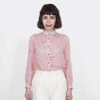 Red vintage Henry collar crab chiffon vintage long-sleeved shirt BM4007