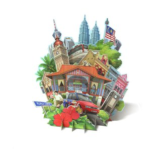 360 3D Greeting Card: Malaysia In The Glimpse Of Eye