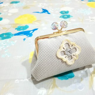 [LCG+/ Lace mouth gold bag] 12cm. Color bubble. Fluorescent yellow. Limited one!