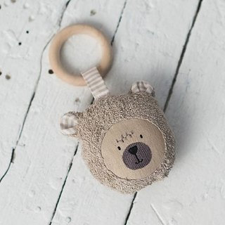 Wooden teething ring toy teddy bear