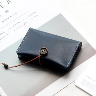 Shanhai Blue vegetable tanned leather handmade leather purse business card package card package card package button credit card package