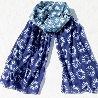 Blue dyed silk scarf / batik embroidery silk scarf / plant dyed scarf / indigo gradient cotton scarf - flower vine