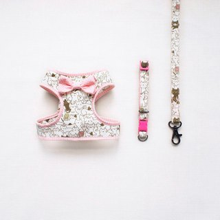 Can be customized. Cat love to play pink little walk combination 2 <breast strap collar leash>