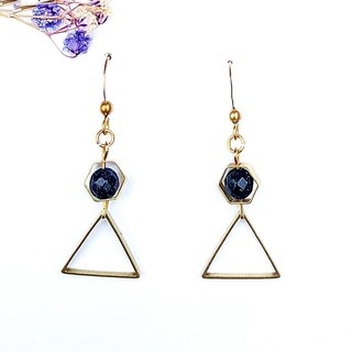 <Stars in Geometry> Blue Sandstone Brass Earrings Minimalist Geometric Personality Lover