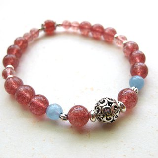 [Love] defensive strawberry crystal x water blue treasure x 925 silver ornaments - hand-create natural stone series