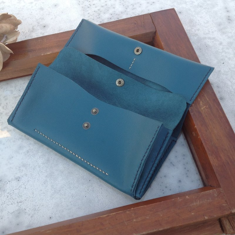 Long clip, long wallet, clutch, hand-stitched, leather, turquoise