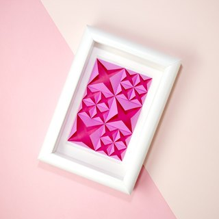 House Warming Gift Origami Fuchsia Pink 3D Diamond White Framed Art Decoration