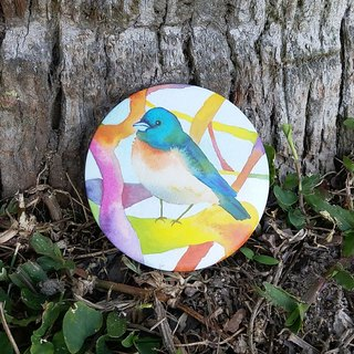 [Collectibles] lovely tree watercolor bird portable mirror small round mirror