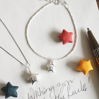 Goody Bag - Green Rivor Silver Origami Lucky Star Necklace and Bracelet