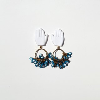 Hand and Ring Earrings with Evil Eyes in Turquouise
