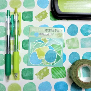 Green-mixed Watercolor Stickers Set
