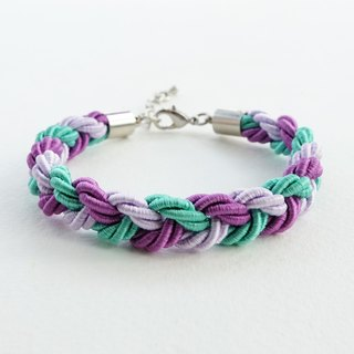 Purple/Green mint blue braided bracelet