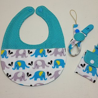 Elephants in the water politeness cycle pocket + peace folder bag + pacifier clip chain