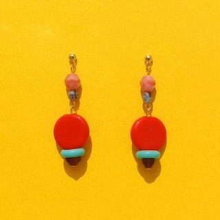 Red glass beads earrings