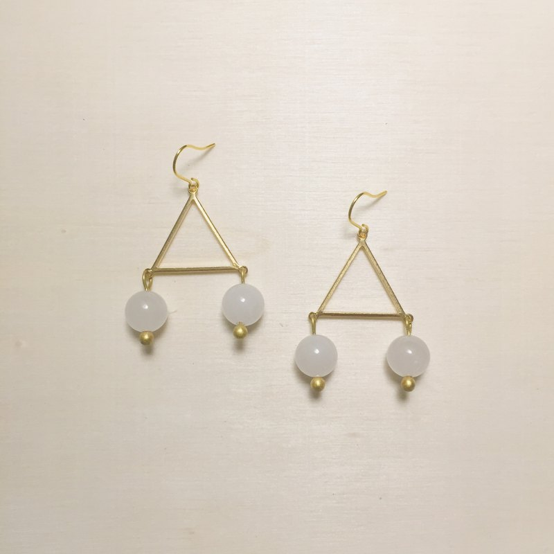 Triangle double white jade earrings