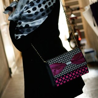 clach bag Super Fly Pink dots borders stripes 3way