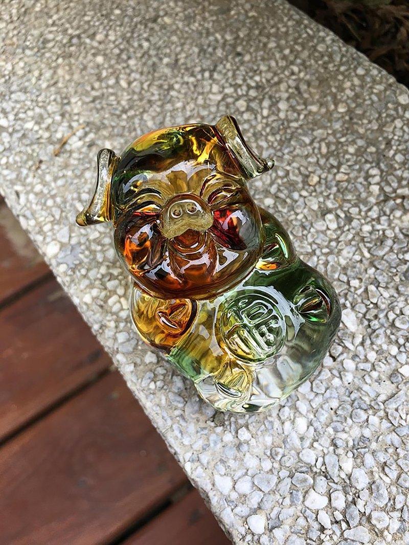 琉璃 水晶玻璃 福氣豬