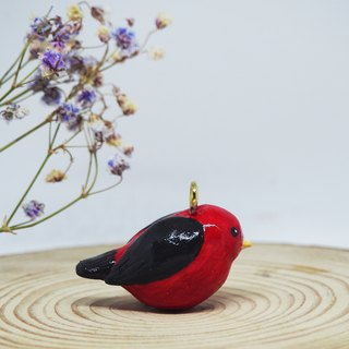 Scarlet tanager handmade necklace