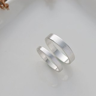 Ni.kou sterling silver plane sand pattern couple ring