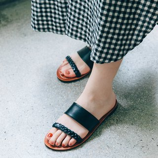 The more through the bright! The original color leather twist 辫 slippers vegetable tanned leather full leather MIT-black