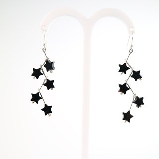 [] ColorDay small black onyx sterling silver earrings star _925 <Black Agate Silver Earring>