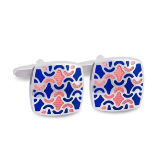 Blue and Peach Enamel Floral designed Cufflinks