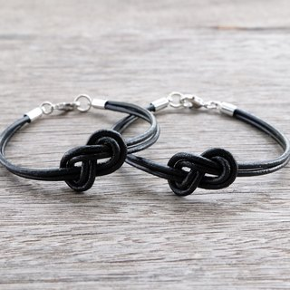"""THIS'S FOR 2 PIECES""   His and Her genuine leather bracelet in black color"