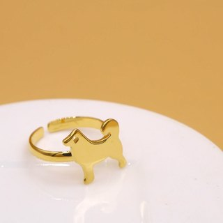 Handmade Little Dog ring – 18K gold plated on brass,Animal Jewelry,birthday gift