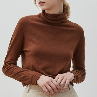 Caramel brown 7-color high-necked self-cultivation pile of collar blouse Merino wool slim sweater sweater skin-friendly