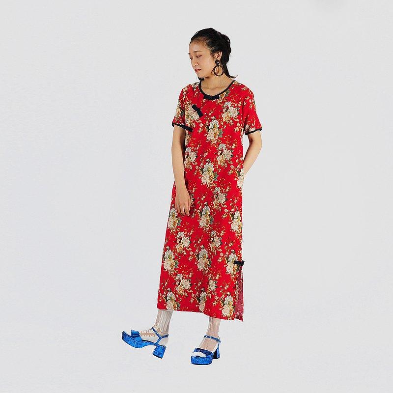 【蛋植物古着】艷陽花團中國風古著洋裝