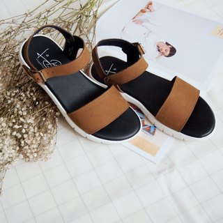 Nubuck Slot Flat Sandals (Brown)
