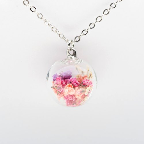 「OMYWAY」Handmade Dried Flower Necklace - Glass Globe Necklace 1.4cm